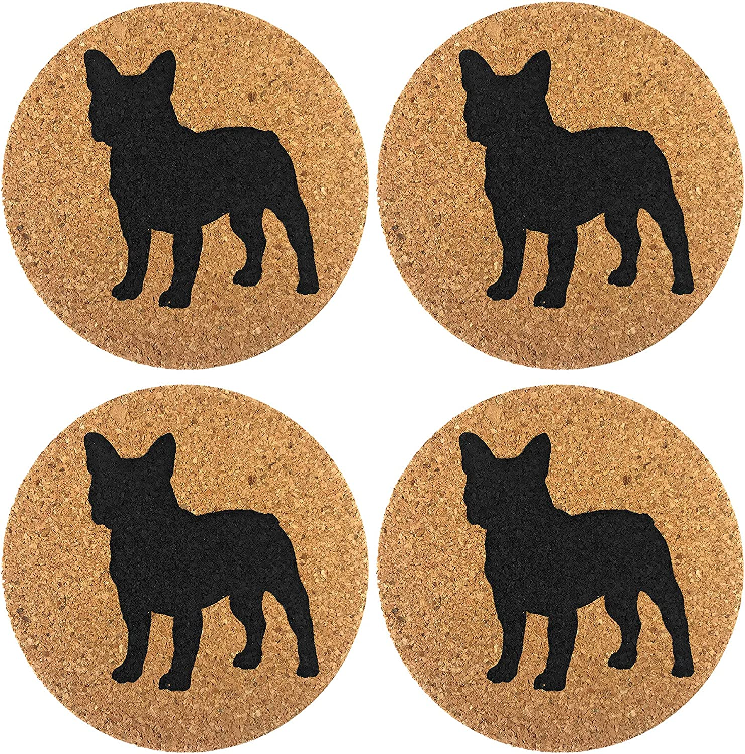 French Bulldog Dog Gift Cork 10 Pack Drink Coasters Set - Kitchen Bar Table  Decor - Perfect Decoration for Frenchie Dog Lovers