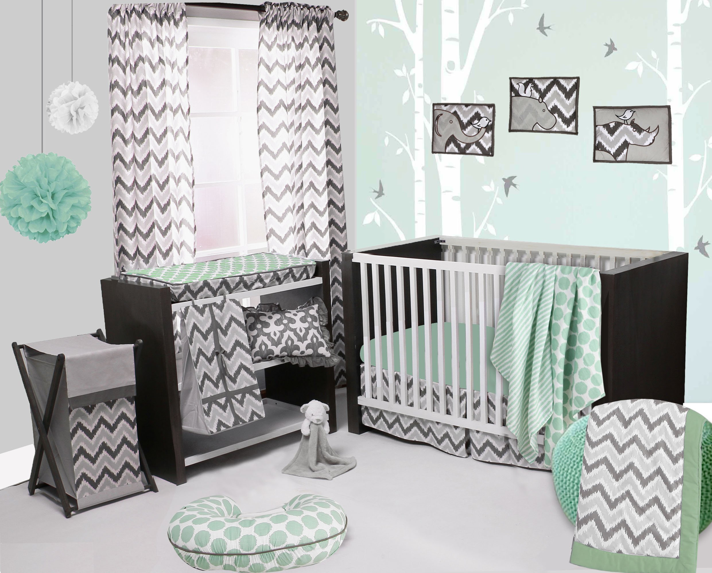 Bacati Ikat Mint/grey Dots/stripes 4 Crib Set with 2 Muslin Blankets