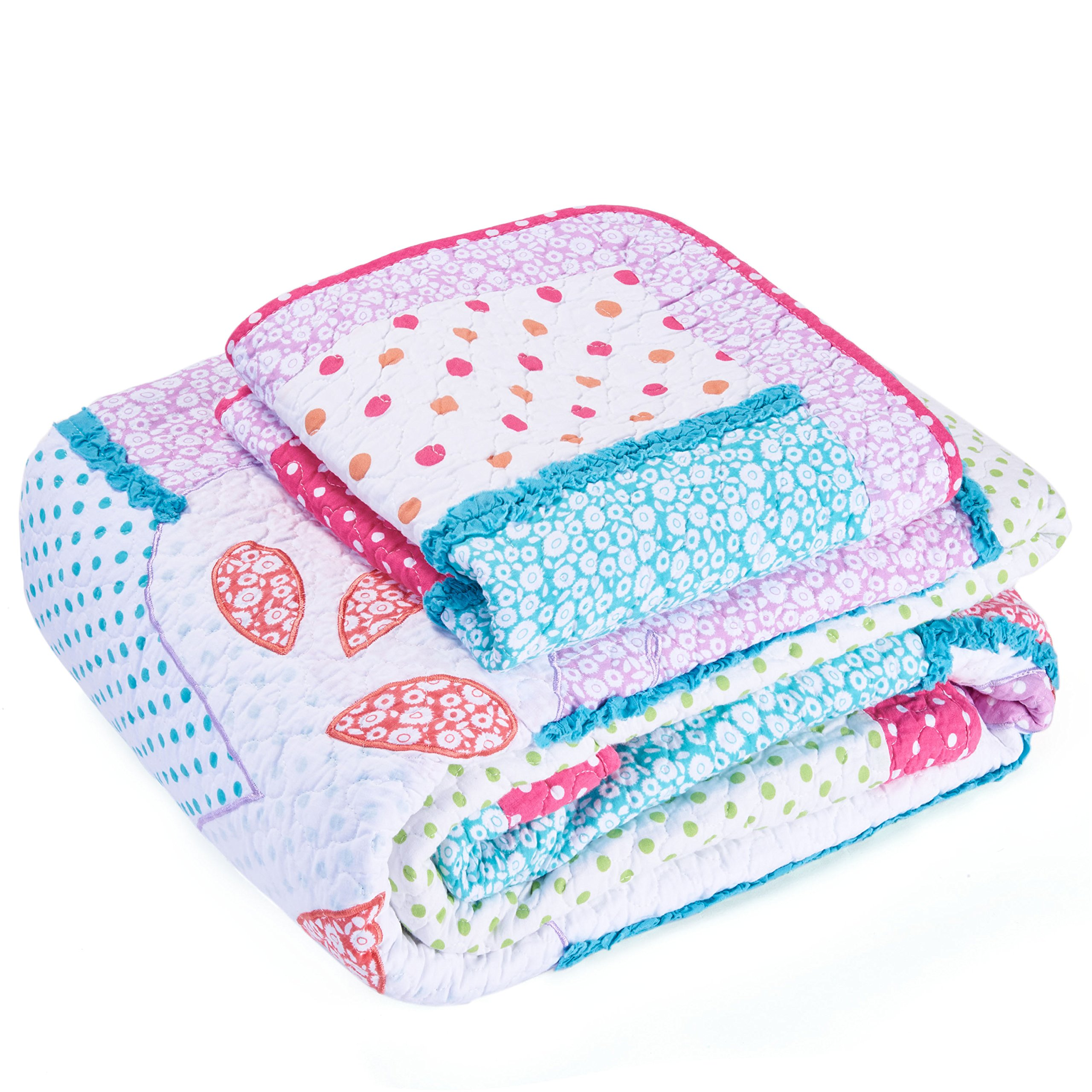 Cute Girls Stitching Patchwork Bedspreads Quilts Set Birds Butterfly Comforter Set 2 Pieces Twin