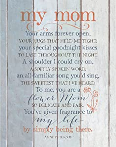 """My Mom Wood Plaque Inspiring Quote 11.75""""x15"""" - Classy Vertical Frame Wall Decoration   Keyhole for Hanging   Your arms Forever Open, Your hugs That held me Tight"""