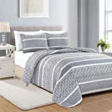 Great Bay Home 3-Piece Reversible Quilt Set with Shams. All-Season Bedspread with Striped Pattern in Gentle Colors. Kadi Collection Brand, Polyester & Polyester Blend, Grey, Twin