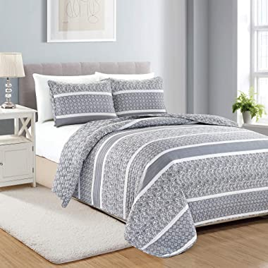 Great Bay Home 3-Piece Reversible Quilt Set with Shams. All-Season Bedspread with Striped Pattern in Gentle Colors. Kadi Collection Brand. (Full/Queen, Grey)