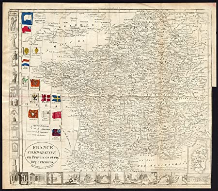 Map Of France 1800.Antique Map France Provinces Departments Corsica Flags 1800 Amazon