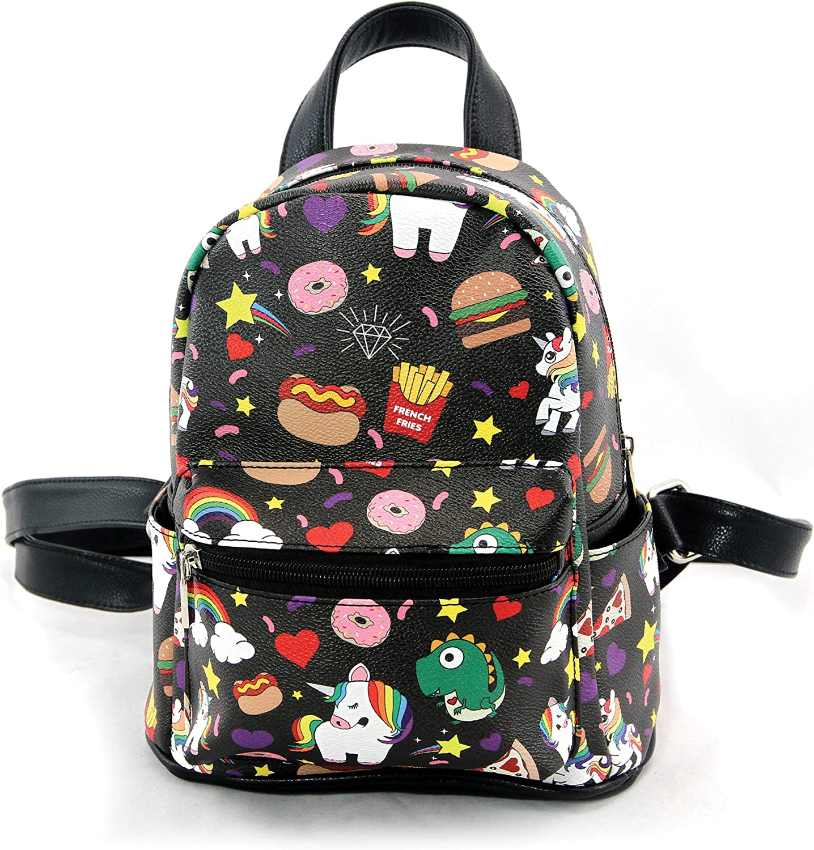 Comeco Unicorns and Junkfood Black 8 x 11 Inch Vegan Leatherette Mini Backpack