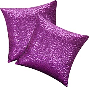 HoliSelear Multi-Size Sparkling Sequins Cushion Cover Shining Bling Pillow Case 16 x 16 Inch for Decor Sofa Wedding Christmas Purple 2 Packs