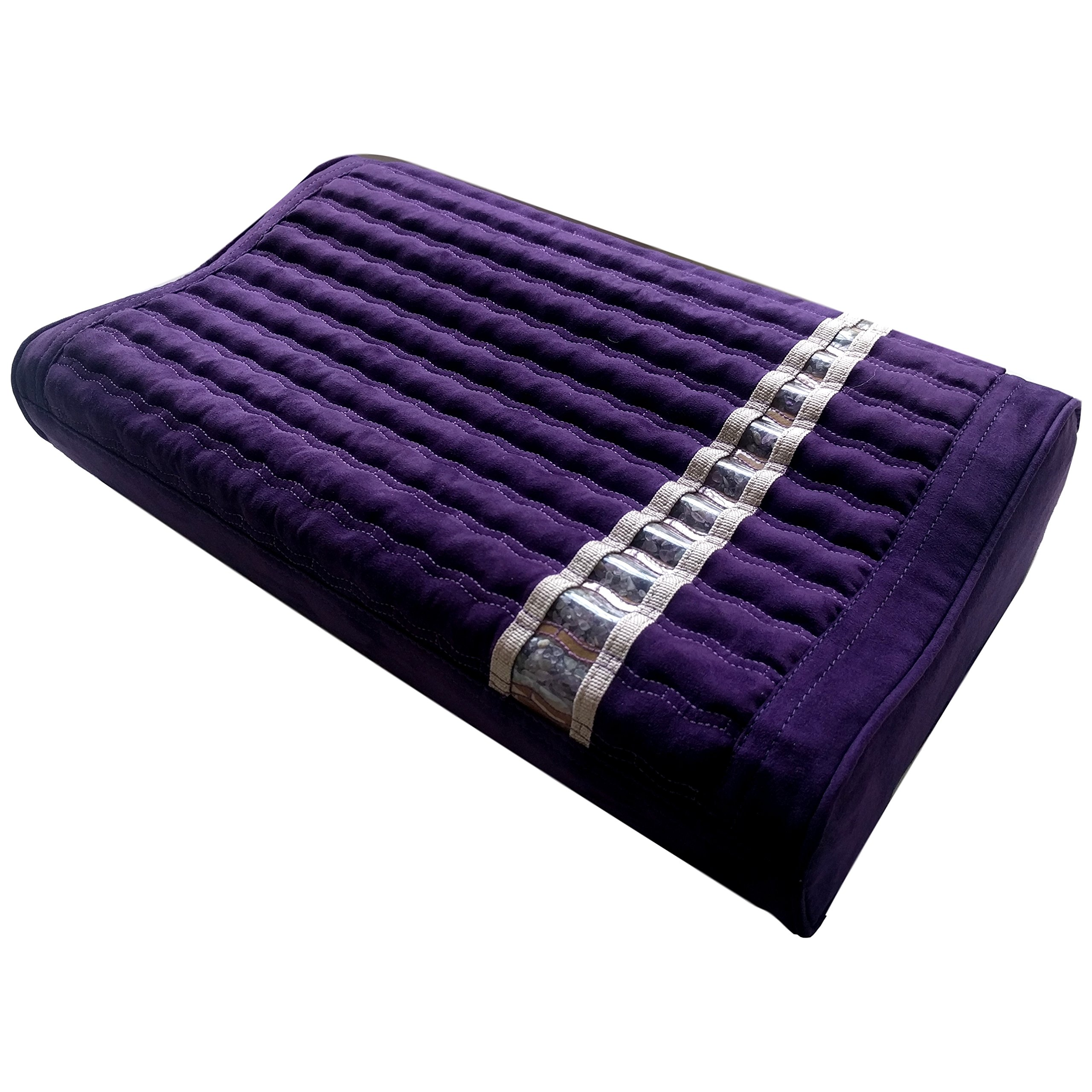 Far Infrared Amethyst Mat Pillow - Emits Negative Ions - Crystal FIR Rays - 100% Natural Amethyst Gemstones - Non Electric - For Headache and Stress Relief - To Sleep Better - GENTLE support - Purple