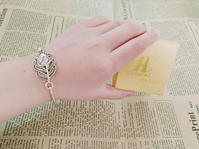 SENFAI Peacock Feather Abalone Shell Hook Clasp Easy Open Wire Bangle Bracelet Retro Style