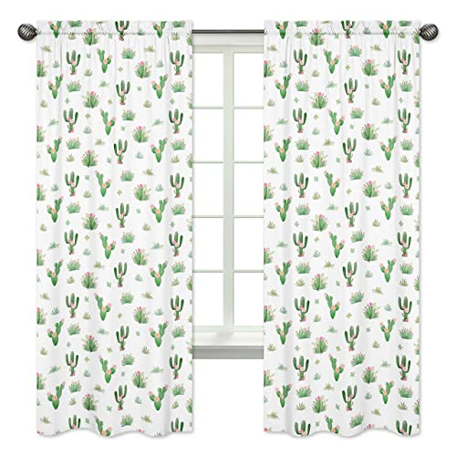 Pink Green Boho Watercolor Window Treatment Panels Curtains for Cactus Floral Collection by Sweet Jojo Designs – Set of 2