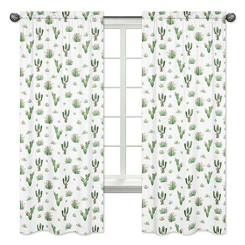 Pink Green Boho Watercolor Window Treatment Panels Curtain
