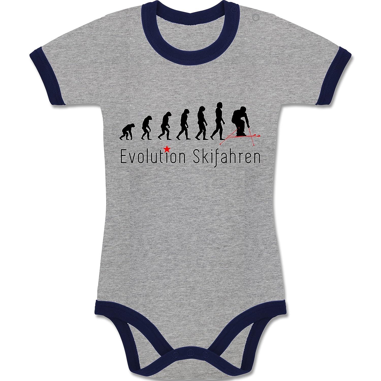 Evolution Baby - Skifahren Evolution - zweifarbiger Baby Strampler für Jungen und Mädchen