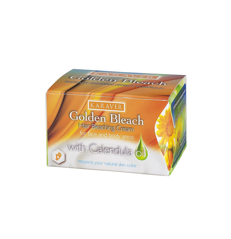 Karaver Cream Bleach for Facial Hair (Calendula Oil Extract, 30g Cream Pot, 7g Accelerator Powder, 2 Spatulas, 1 Instruction Leaflet)