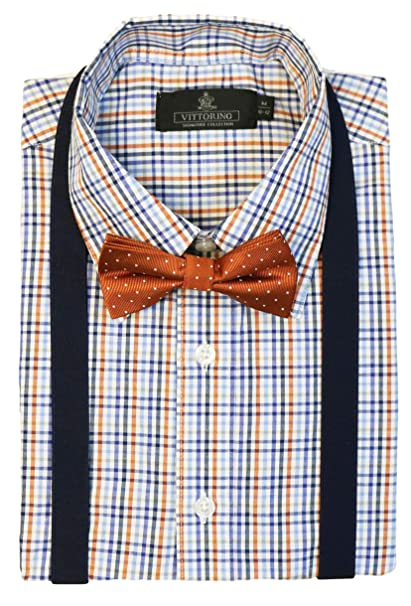 b11ad7c67 Vittorino Boys' Dress Shirt with Matching Bowtie and Suspenders Set, Orange  Plaid, ...
