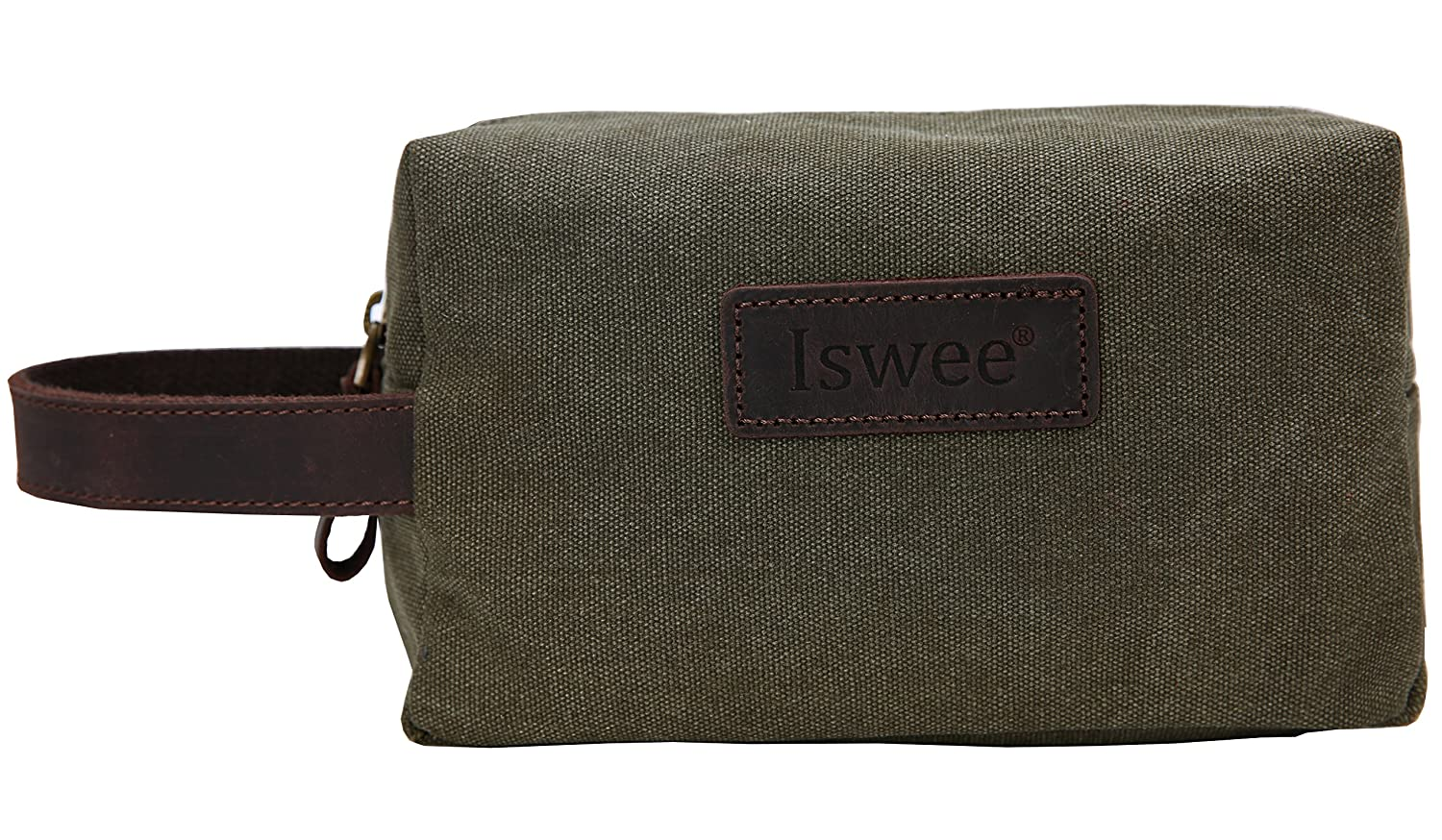 6adc1d869b1d Amazon.com   Canvas Leather Toiletry Bag Iswee Bathroom Shower Organizer  Shaving Doop Kit(Army Green)   Beauty