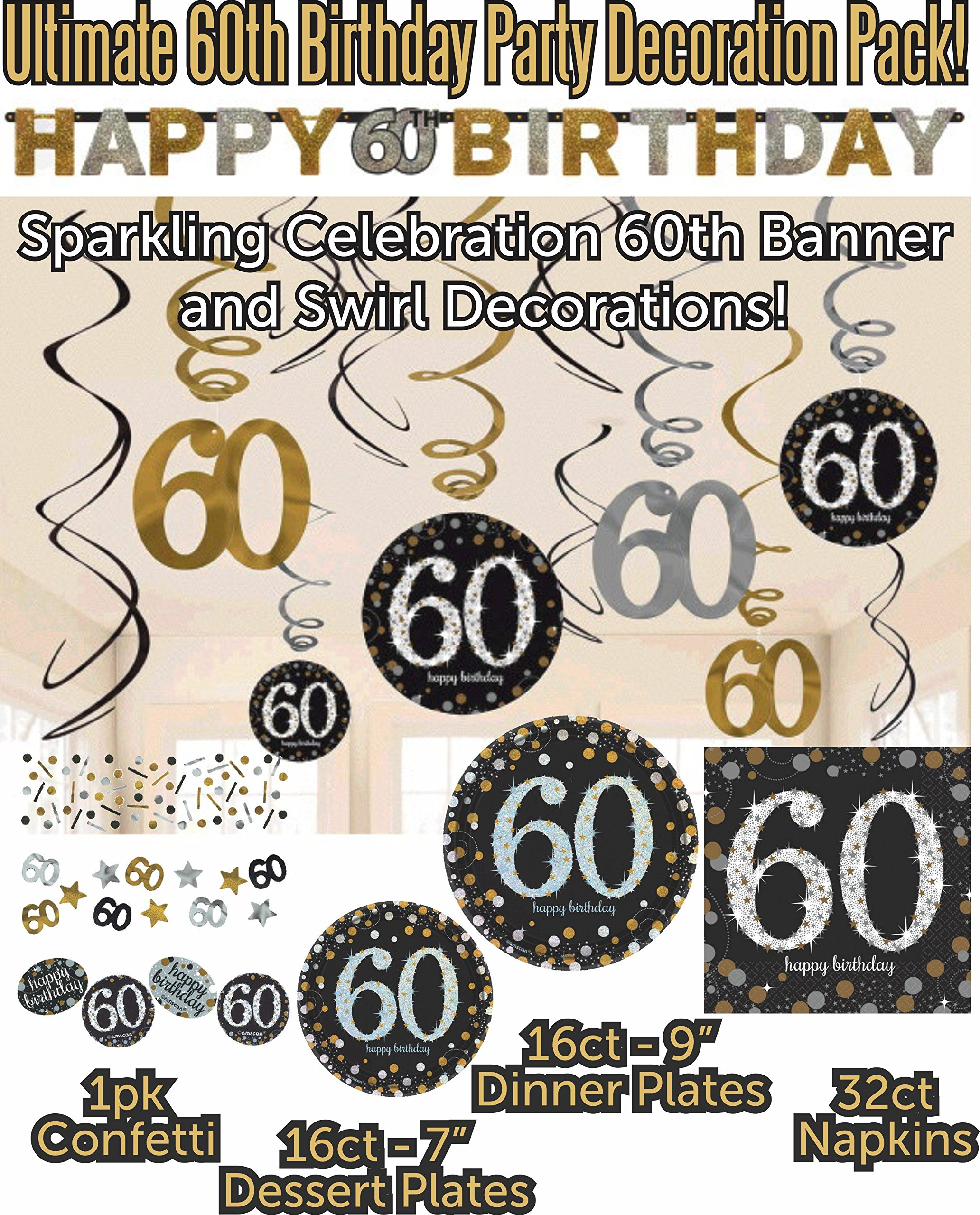 Ultimate 60th Birthday Party Decoration Supply Bundle Pack with 16 Dinner Plates, 16 Dessert Plates, 32 Luncheon Napkins, Hanging Swirls, 60th Banner and Confetti (Bonus Matching Party Straws)