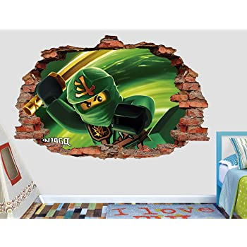Lego Ninjago Lloyd Garmadon 3D Sticker Wall Decal Smashed Vinyl Decor Mural Movie- Broken Wall - 3D Designs - AL50 (Medium (Wide 30
