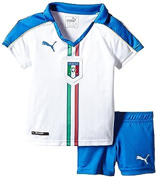 Puma Children's Mini Football Kit Italy Away Strip Replica Jersey White  White/Team Power Blue