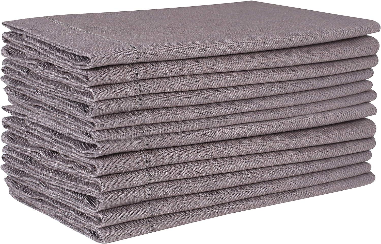 Light & Pro Cloth Napkins 12Pack 100% Slub Cotton in Hemstitched, Cocktail Napkins, Dinner Napkin, Easter Napkins, Napkins, Beverage Napkins, Machine Washable, Everyday use-18x18 Inch Grey Charcoal