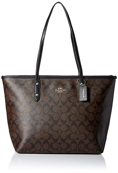 pretty cool structural disablities big collection Coach Signature City Zip Tote (Brown/Black)