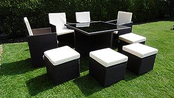 Gartenmöbel Rattan Würfelförmig Tisch Stuhl Hocker Hohe Lehne