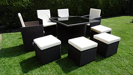 rattan garden furniture cube set dining table chair footstools high