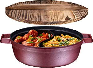 Non-Stick 2-In-1 Cast Iron Shabu Shabu Hot Pot with Wooden Lid – Heavy Duty 3 Quart, Nonstick Interior Coating And Silicone Polyester exterior