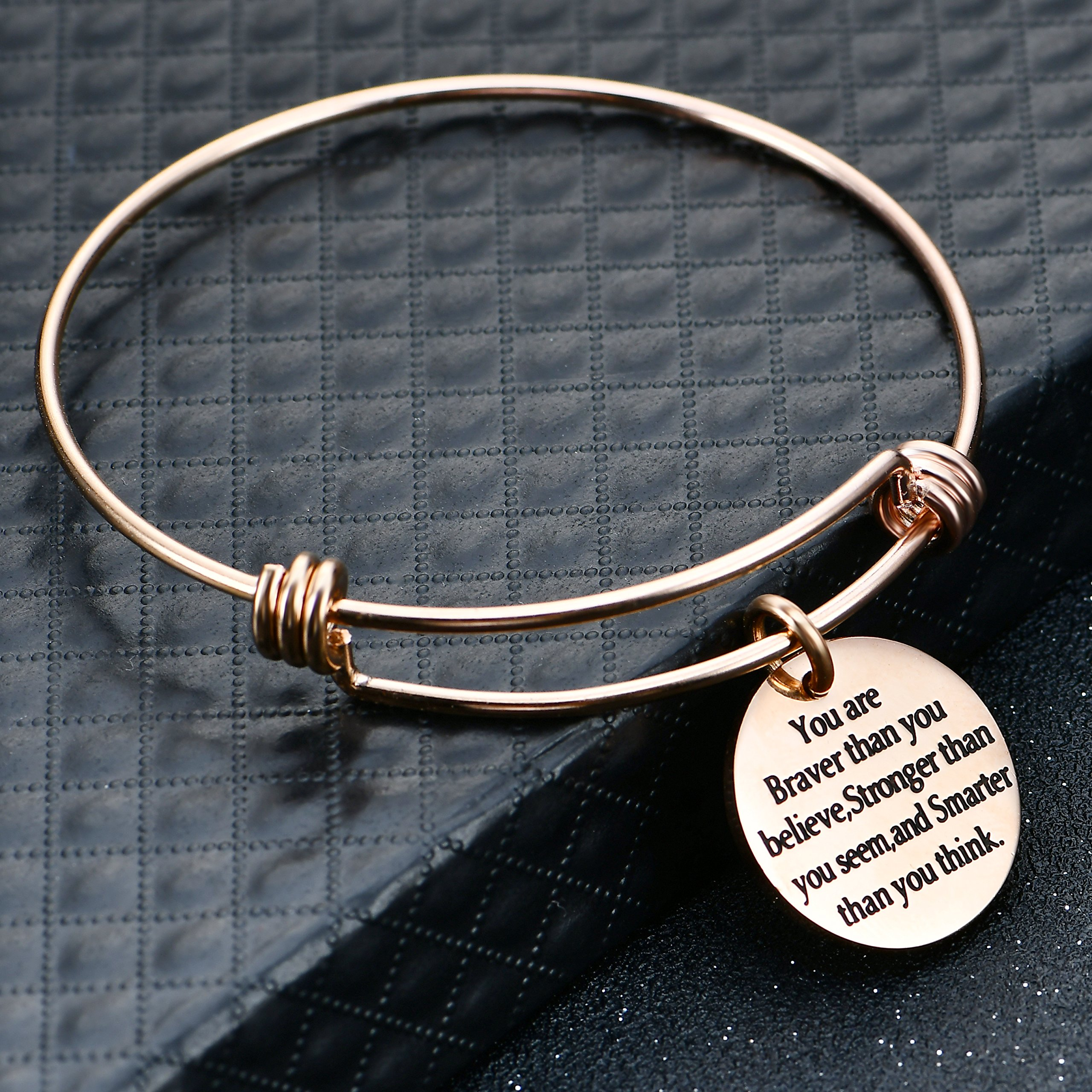 lauhonmin You are Braver Stronger Smarter than you think Inspirational Bracelet Expandable Bangle Gift for Women Men (Rose Gold Color Stainless Steel) by lauhonmin (Image #4)