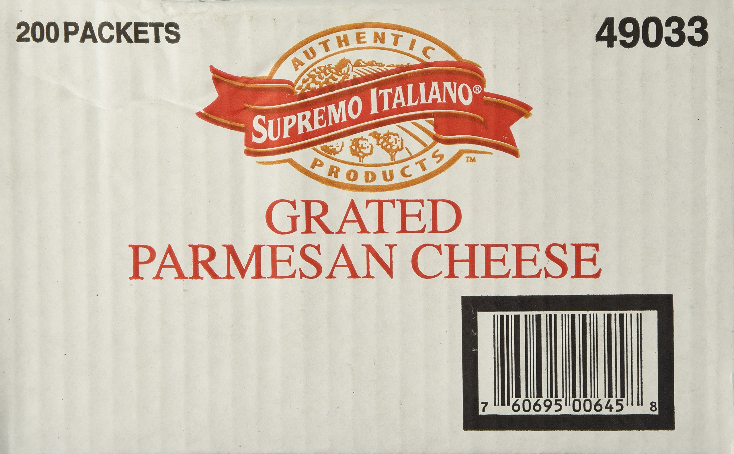 Supremo Italiano Natural Grated Parmesan Cheese, Restaurant Quality, No Refrigeration Needed, Sealed and Great for Pizza, 200 Packets