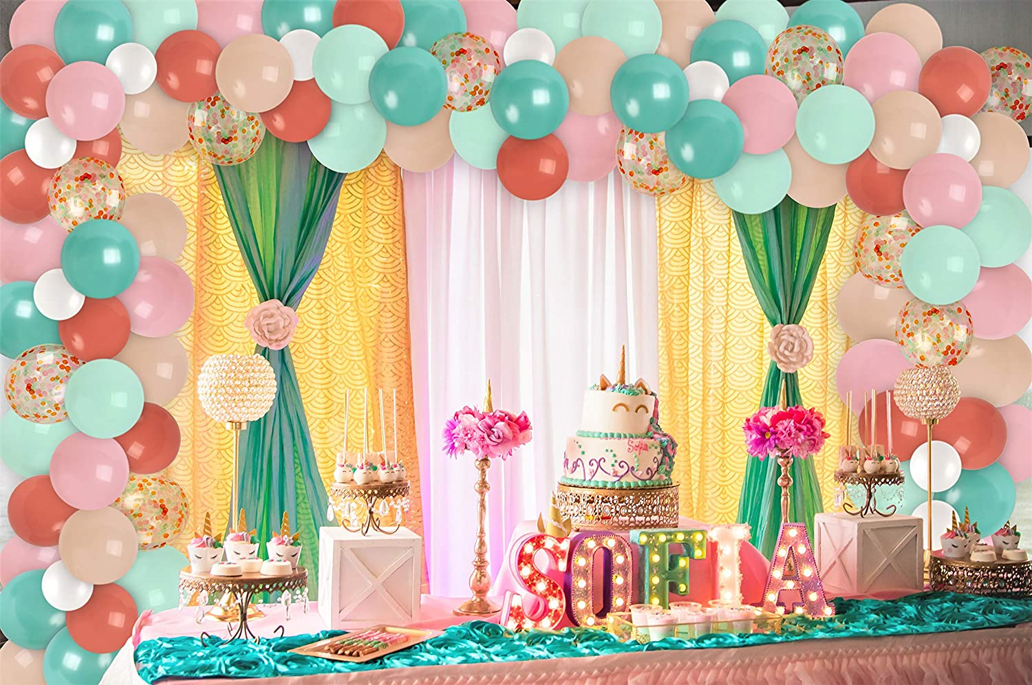 Pink and Teal Balloon Garland Kit Pastel Orange Turquoise Coral Balloons Arch Graduation Decor for Wedding Boho Girl Birthday Party Baptism Decorations