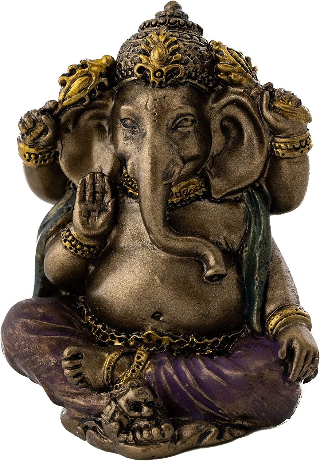 Top Collection Mini Ganesh Statue - Ganesha Lord of Success Sculpture in Premium Cold Cast Bronze with Colored Accents - 2-Inch Collectible New Age Hind God Figurine