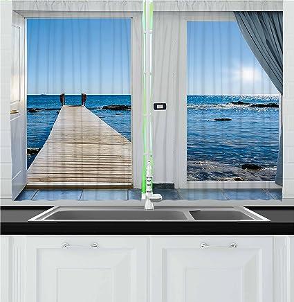 Amazon Com Ambesonne Beach Kitchen Curtains Coastal Theme