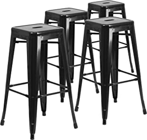 Flash Furniture 4 Pk. 30'' High Backless Black Metal Indoor-Outdoor Barstool with Square Seat
