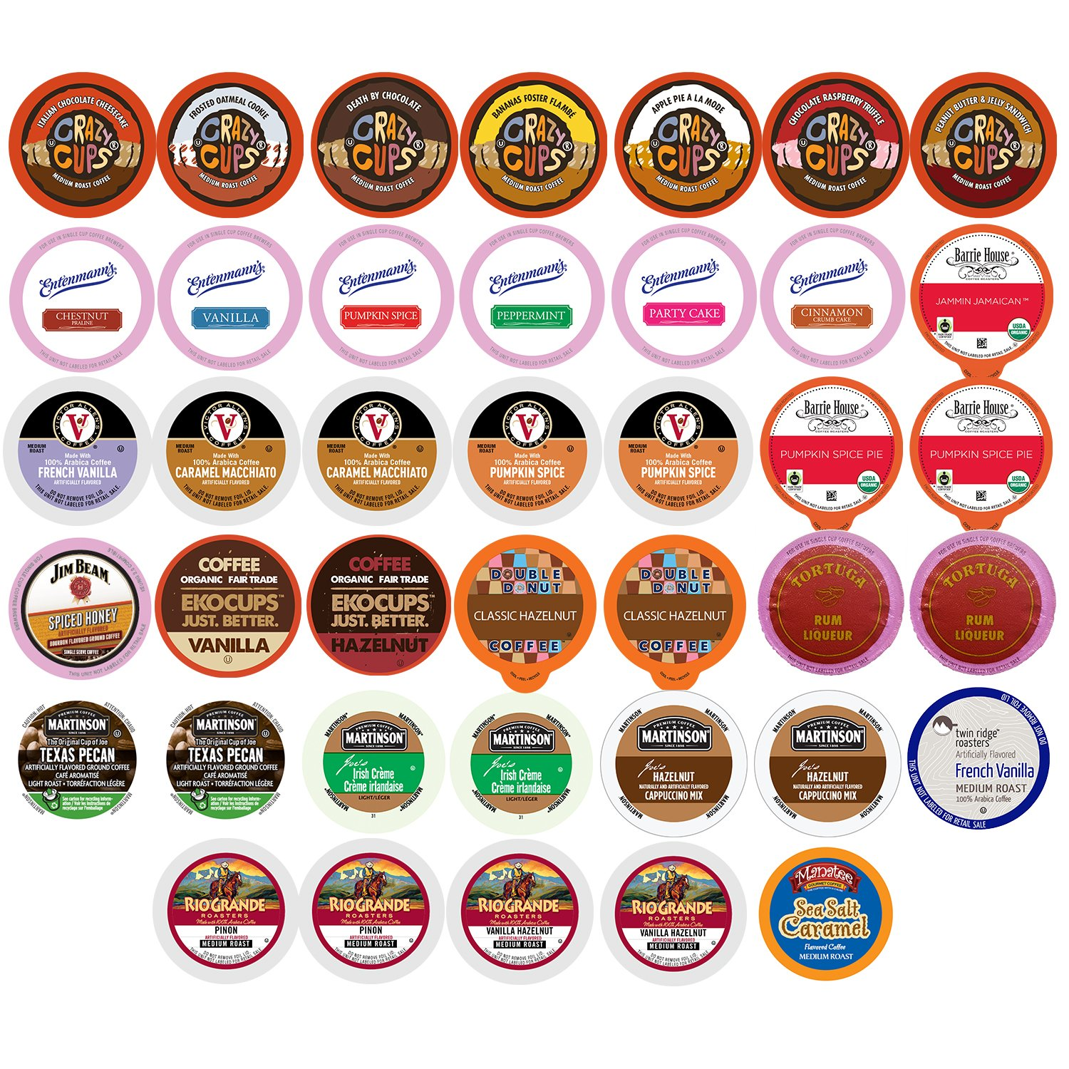 Crazy Cups Flavored Coffee Variety Pack Sampler 30 Count