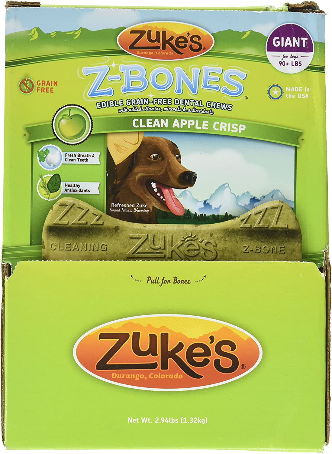 Zuke S Performance Pet Nutrition 134096 12 Count Z-Bone Giant Apple Crisp Display Box, Large