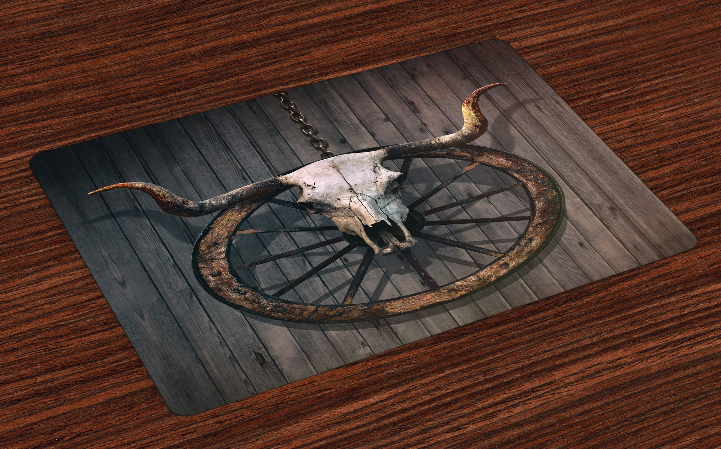 Ambesonne Barn Wood Wagon Wheel Place Mats Set of 4, Long Horned Bull Skull and Old West Wagon Wheel on Rustic Wall, Washable Fabric Placemats for Dining Room Kitchen Table Decor, Black Brown White