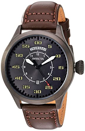 45d3605cb Amazon.com: Invicta Men's Aviator Stainless Steel Quartz Watch with ...