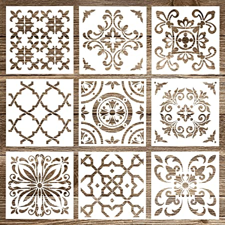 Whaline 9 Pack Mandala Stencils Floor Painting Template Set (6x6 inch) Reusable Stencils Tile for Airbrush, Furniture Floor Tiles, Walls Art and Stone Rock Painting