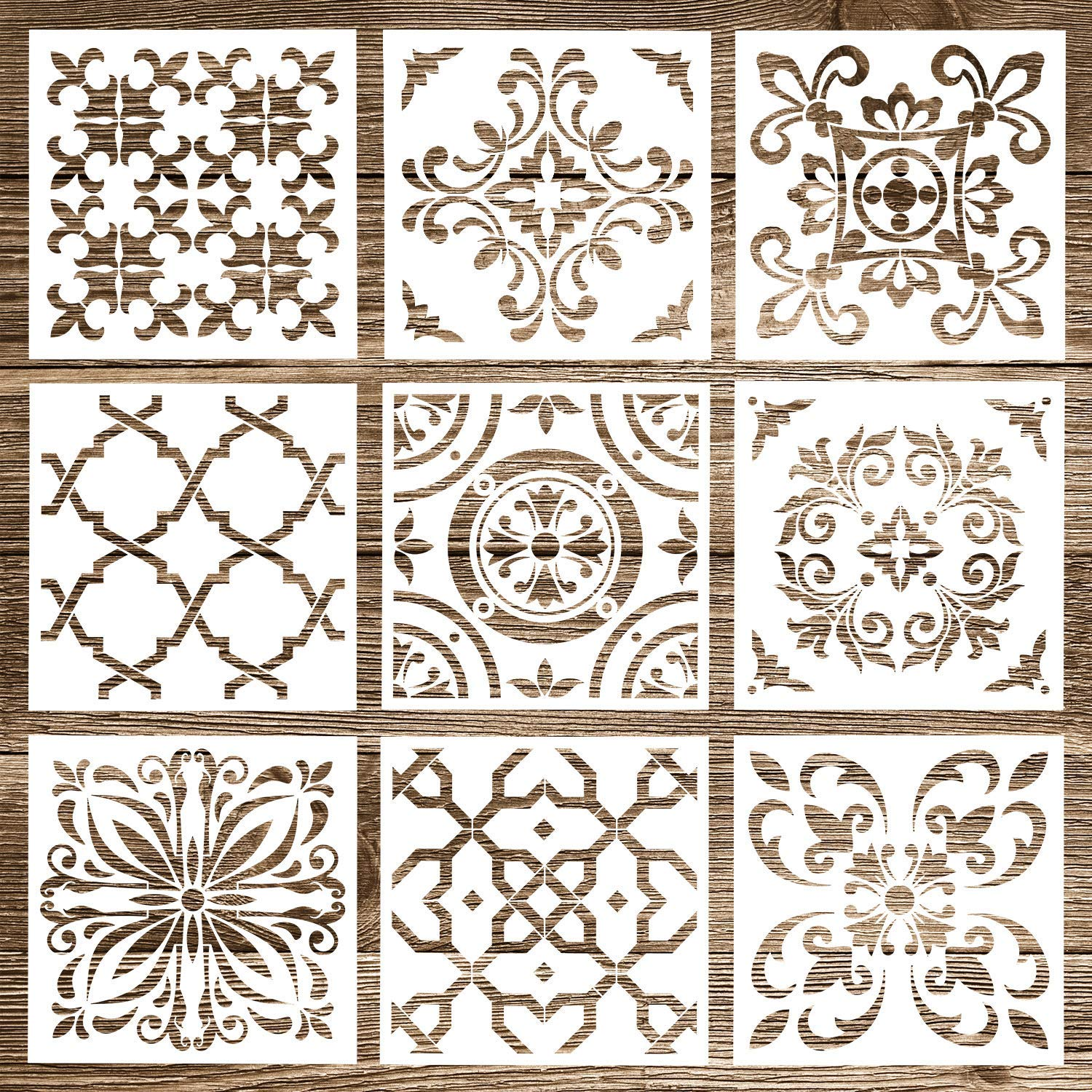 Whaline 9 Pack Mandala Stencils Tiles Template Set Reusable Stencils Mandala Dotting Painting Stencils Tool for Airbrush, Furniture Floor Tiles, Walls Art and Stone Rock, Home Painting
