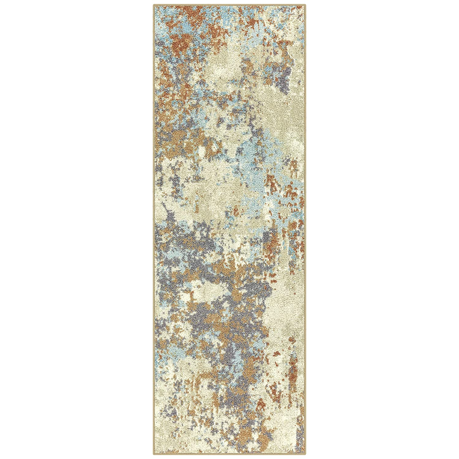 Maples Rugs Southwestern Stone 2 x 6 Distressed Style Non Skid Hallway Entry Rugs Runners [Made in USA] for for Kitchen and Entryway, Multi