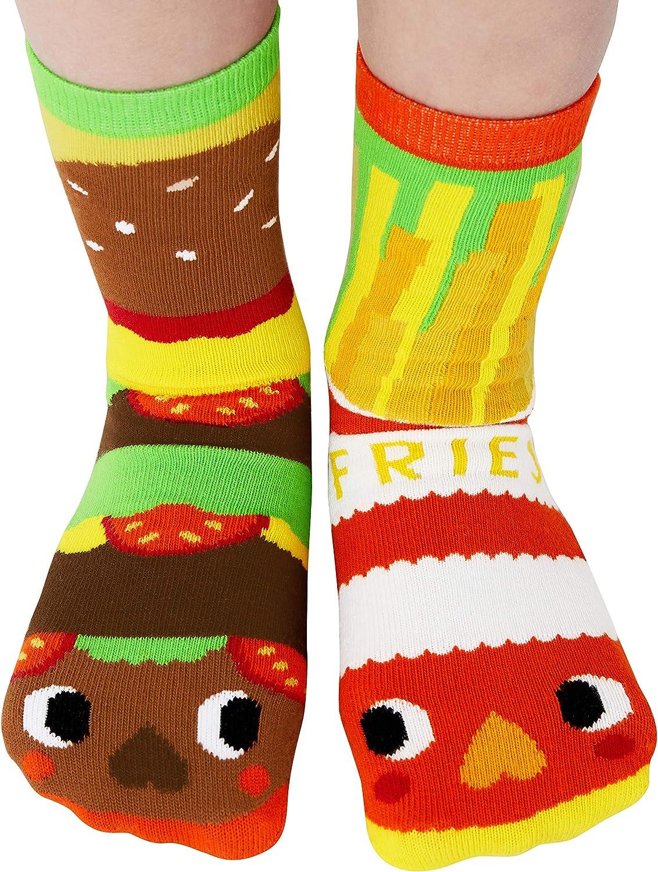 Yummy Mismatching Kids Burger & Fries Food Crew Socks With Bottom Grips Kids