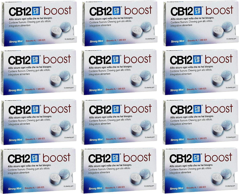 12 x CB12 Boost Azúcar Gratis Chicle Fuerte Menta 10 Piezas 20g