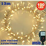 100 LED Warm White Indoor Fairy Lights String Lights 8 Functions/13 Meters - Power Operated LED Fairy Lights - Ideal for Christmas Tree, Festive, Wedding/Birthday Party Decorations LED String Lights (100 LED 13M)