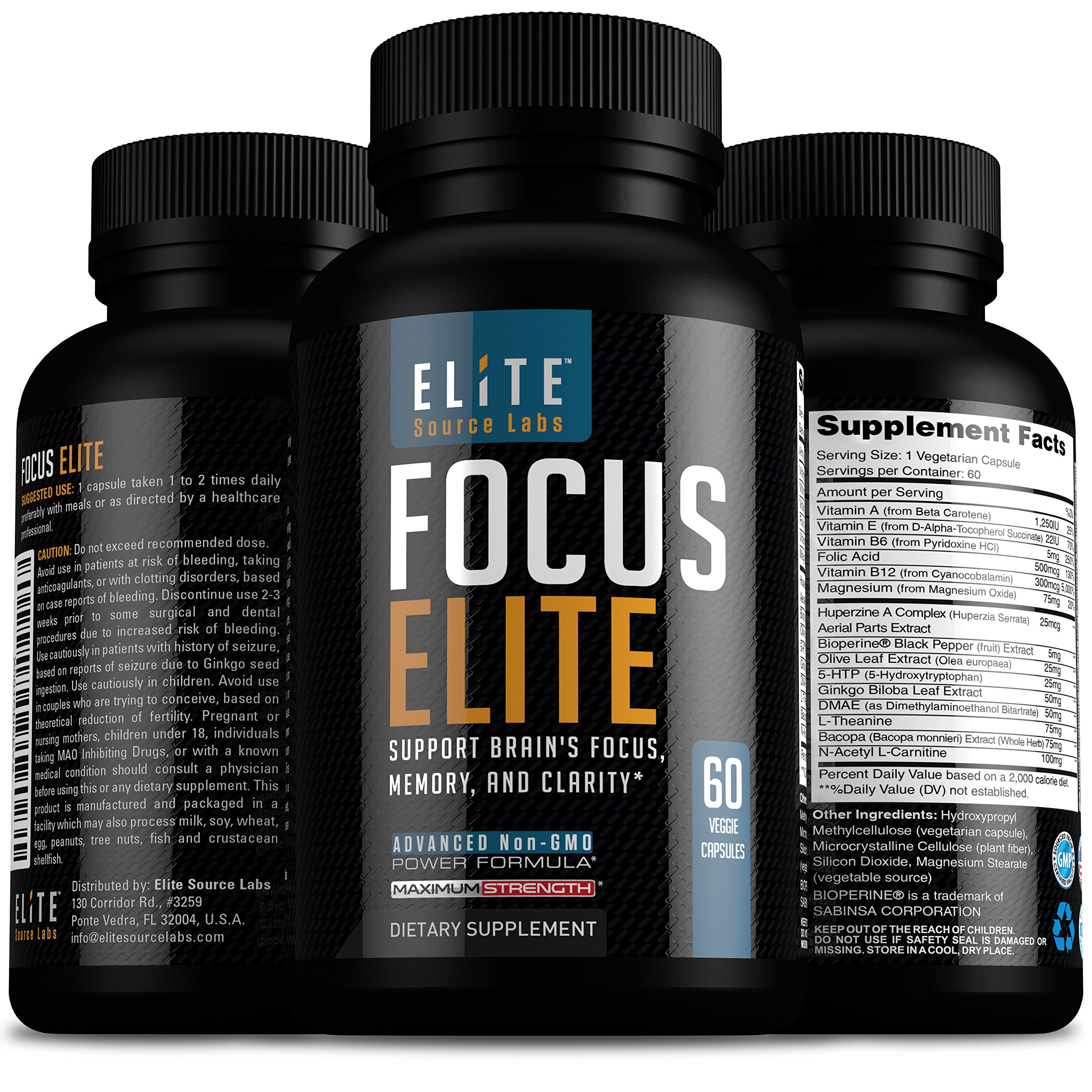 Focus Elite Brain Support Supplement - Natural Brain Boost to Stay Focused, Better Memory and Clarity - Ginkgo Biloba, Bacopa Monnieri, DMAE & More - Best Nootropics Vitamins for Brain Health 60 Caps