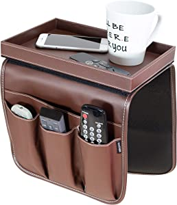 Anti Slip Armchair Caddy w/Detachable Wooden Snack Tray PU Leather Armrest Cup Holder Couch Arm Tray for Recliner w/ 1 Large Pocket, 3 Small Pockets for TV Remotes, Phone, Eyeglasses (Brown)