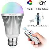 Coidak E26 RGB+W LED Color Changing Light Bulb with 2.4G RF Wireless Remote Controll (Not IR), Pure White, Dimmable A19 Lamp