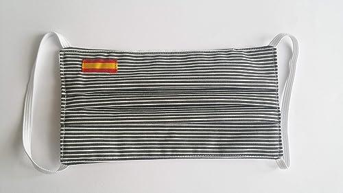 Protector facial rayas bandera de España doble tela: Amazon.es ...