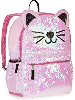 5a402c89913bd7 Amazon.com | Justice Black Cat Flip Sequin Backpack | Kids' Backpacks