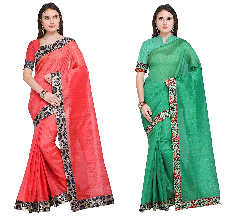 Florence Women's Peach and Green Bhagalpuri Silk Combo Saree