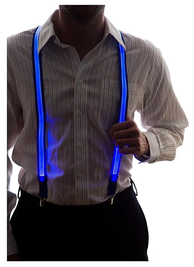 Tirantes de luces led de color azul para hombre