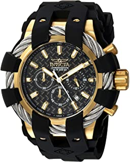 Invicta Mens Bolt Stainless Steel Quartz Watch with Silicone Strap, Black, 32 (Model