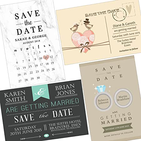 invitebay uk wedding save the date cards envelopes personalised 16 designs to choose
